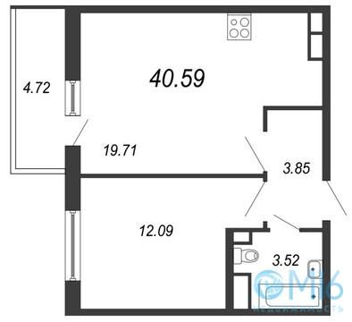 Продажа 1-комнатной квартиры, 40.59 м2 - Фото 2
