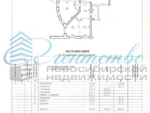 Продажа трехкомнатной квартиры на улице Мичурина, 24 в Новосибирске, Купить квартиру в Новосибирске по недорогой цене, ID объекта - 320103188 - Фото 1