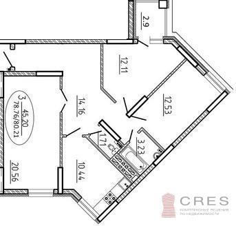Трехкомнатная квартира по ул. Первомайская 71 Литер 4 Секция А - Фото 5