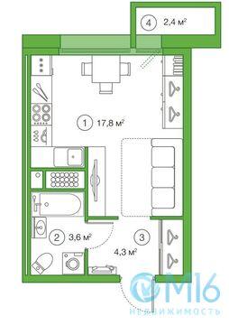 Продажа квартиры-студии, 26.08 м2 - Фото 3