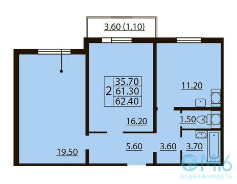 Продажа 2-комнатной квартиры в Калининском районе, 62.4 м2 - Фото 2