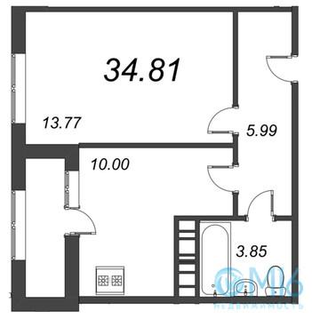 Продажа 1-комнатной квартиры, 34.81 м2 - Фото 2