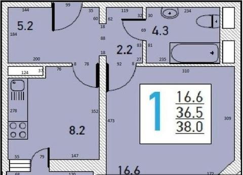 Однокомнатная квартира под отделку в новом доме - Фото 2