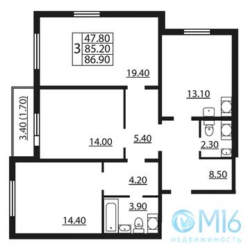 Продажа 3-комнатной квартиры в Калининском районе, 86.9 м2 - Фото 2