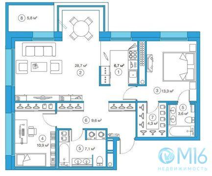 Продажа 2-комнатной квартиры, 84.49 м2 - Фото 1