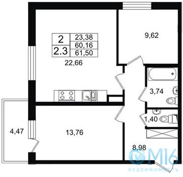 Продажа 2-комнатной квартиры, 61.5 м2 - Фото 2