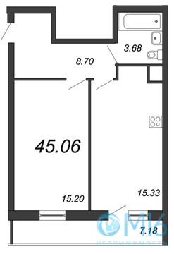 Продажа 1-комнатной квартиры в Московском районе, 45.06 м2 - Фото 2
