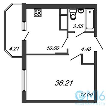 Продажа 1-комнатной квартиры, 36.21 м2 - Фото 2