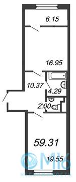 Продажа 1-комнатной квартиры, 59.31 м2 - Фото 2