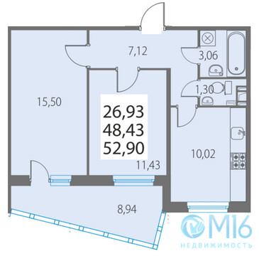 Продажа 2-комнатной квартиры, 52.9 м2 - Фото 2