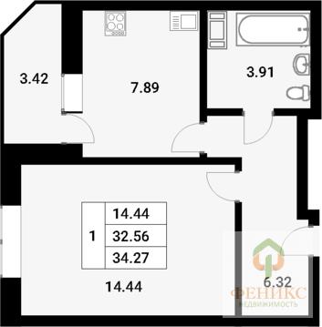 1-к квартира 34.27 кв.м в ЖК Материк на 19 этаже 19-этажного . - Фото 2
