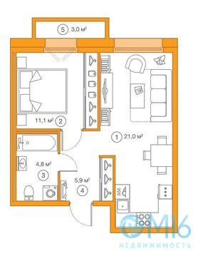 Продажа 1-комнатной квартиры, 42.81 м2 - Фото 3