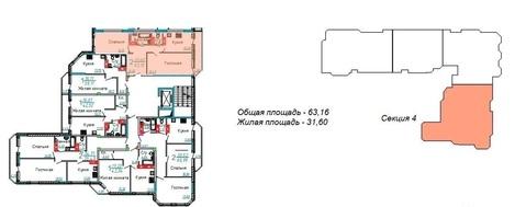 2-комн 63 кв.м. 4й Норский переулок - Фото 1