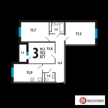 3-комн. квартира 81,1 м2 у Троицка, Новая Москва, 15 км Калужского ш. - Фото 2