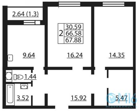 Продажа 2-комнатной квартиры, 67.88 м2 - Фото 1