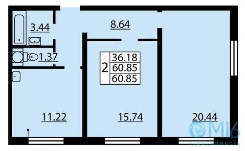 Продажа 2-комнатной квартиры, 60.85 м2 - Фото 2