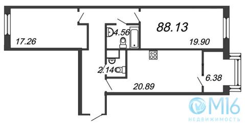 Продажа 2-комнатной квартиры, 88.13 м2 - Фото 2