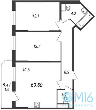 Продажа 2-комнатной квартиры, 60.6 м2, Муринская дор. - Фото 2