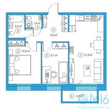 Продажа 2-комнатной квартиры, 57.24 м2 - Фото 3