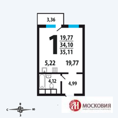 1 комн. квартира в Новых Ватутинках с ремонтом, 14 км от МКАД - Фото 1