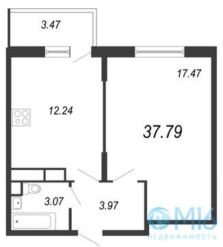 Продажа 1-комнатной квартиры, 37.79 м2 - Фото 1