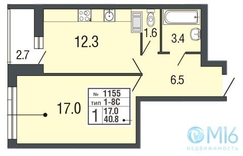 Продажа 1-комнатной квартиры в Приморском районе, 40.8 м2 - Фото 1
