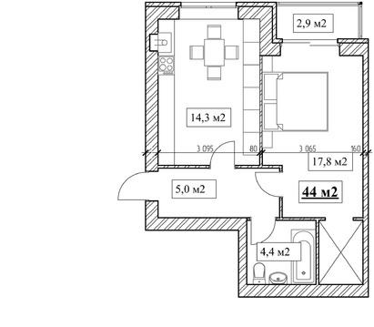Продам 1-комнатную квартиру, 44м2, ЖК Прованс, фрунзенский р-н - Фото 4
