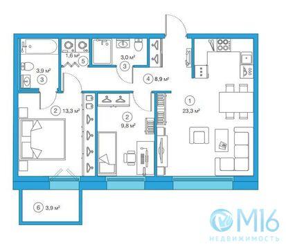 Продажа 2-комнатной квартиры, 63.84 м2 - Фото 1