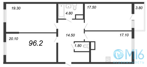 Продажа 3-комнатной квартиры, 96.2 м2 - Фото 2