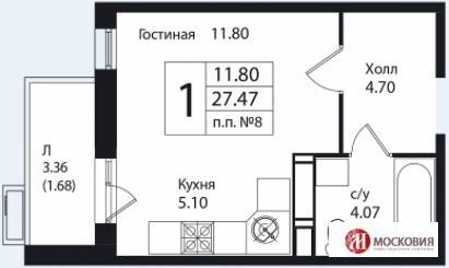 Студия 27.5м2, прописка Москва. 15 км от МКАД, Калужское шоссе. - Фото 1