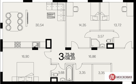 3 комнатная квартира 106 кв.м. с земельным участком 200 кв.м. - Фото 1