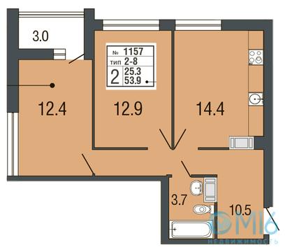 Продажа 2-комнатной квартиры в Приморском районе, 53.9 м2 - Фото 1