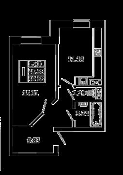 1-комнатная квартира 40,85 кв. м. в ЖК Никольский посад