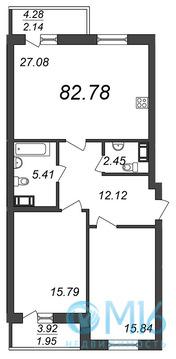 Продажа 2-комнатной квартиры, 82.78 м2 - Фото 1