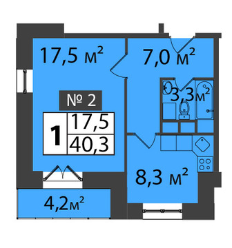 Продам: 1-комн. квартира, 40.3 м2 - Фото 3
