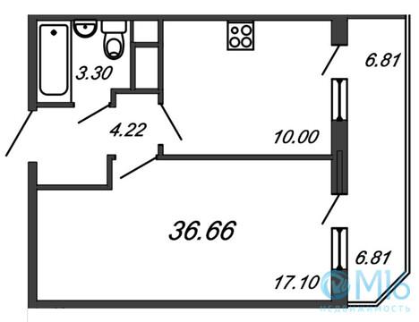 Продажа 1-комнатной квартиры, 36.66 м2 - Фото 2