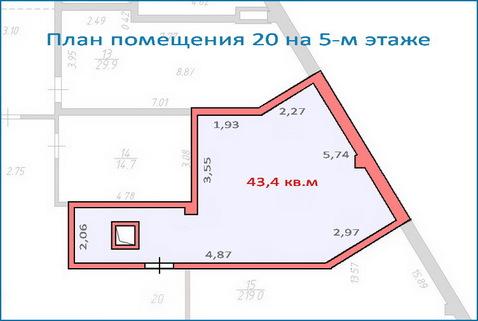 Помещение свободного назначения 43,4 кв.м в новом ТЦ, 6 км от МКАД - Фото 1