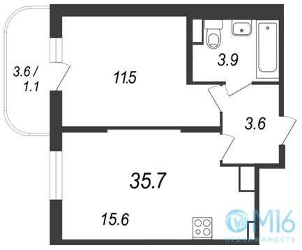 Продажа 1-комнатной квартиры, 35.7 м2 - Фото 2