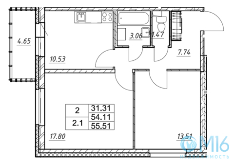 Продажа 2-комнатной квартиры, 55.51 м2 - Фото 2