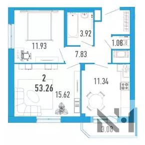 2-х к. квартира 53 м2 в ЖК Витамин в Мурино за 2.570.000 - Фото 1