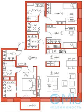 Продажа 3-комнатной квартиры, 108.88 м2 - Фото 1