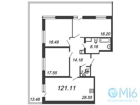 Продажа 3-комнатной квартиры, 121.11 м2 - Фото 1