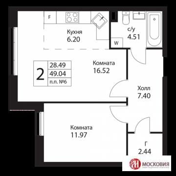 Двухкомнатная квартира 49. 04 кв.м ,17км от МКАД по Калужскому шоссе.