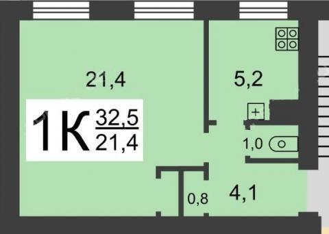 1-комнатная квартира на ул. Ракетная, д. 5, Купить квартиру в Нижнем Новгороде по недорогой цене, ID объекта - 310135342 - Фото 1