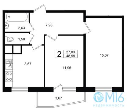 Продажа 2-комнатной квартиры, 48.99 м2 - Фото 2