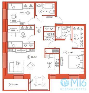 Продажа 3-комнатной квартиры, 88.51 м2 - Фото 2