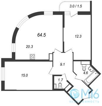 Продажа 2-комнатной квартиры, 64.5 м2 - Фото 1