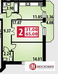 2 комнатная квартира, 65.08 кв.м. г. Подольск, 15 минут до ж/д станции