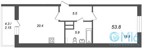 Продажа 1-комнатной квартиры, 53.8 м2 - Фото 2