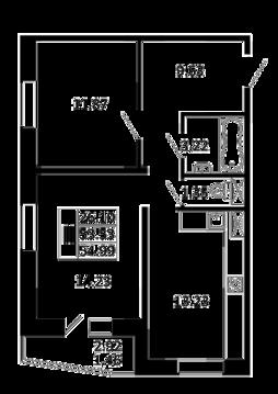 2-комнатная квартира 54,99 кв. м. в ЖК Никольский посад